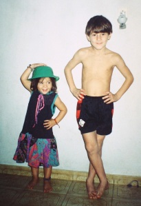 Lionel Messi with his sister Maria Sol