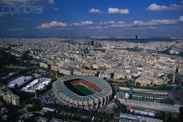ca. 1996-1998, Paris, France --- Aerial View of Parc des Princes Stadium --- Image by © Yann Arthus-Bertrand/Corbis